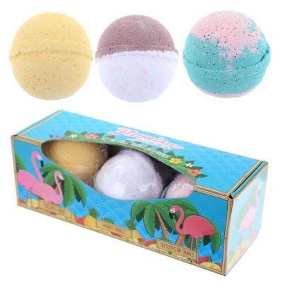 Conjunto de 3 Bombas de Banho Flamingo Aromas Tropicais