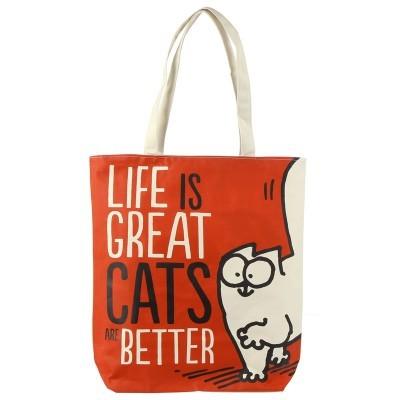 Bolsa com fecho e forro Life is Great Cat's are Better