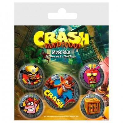 Conjunto 5 crachás Crash Bandicoot