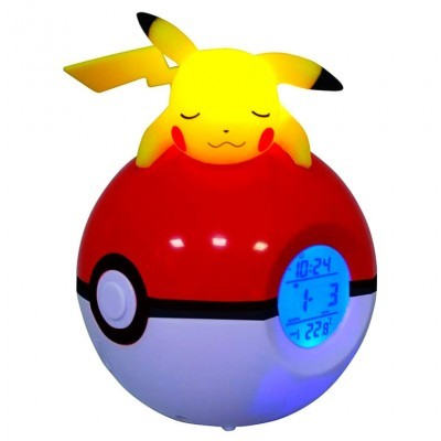 Lâmpada despertador Led Pikachu Pokeball Pokemon