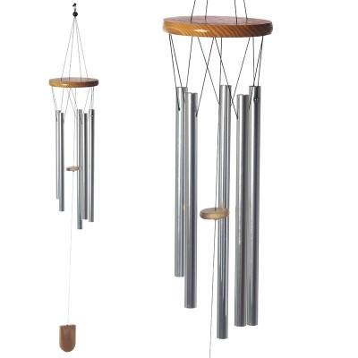 Espanta espíritos de madeira com tubos de metal 88cm