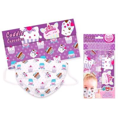 Set 5 Máscaras infantis cirúrgicas descartáveis + estojo Cupcakes