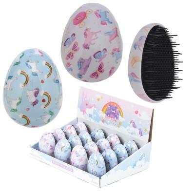 Escova de cabelo unicórnio encantado em forma de ovo
