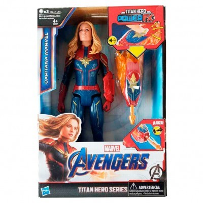 Figura Titan Hero Power Captain Marvel Vingadores Marvel 30cm