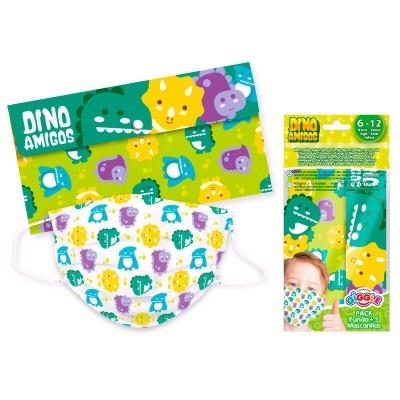 Set 5 Máscaras infantis cirúrgicas descartáveis + estojo Dino