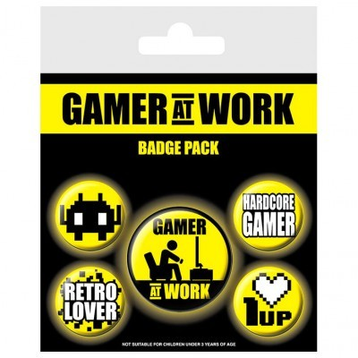 Conjunto 5 crachás Gamer at Work Gaming