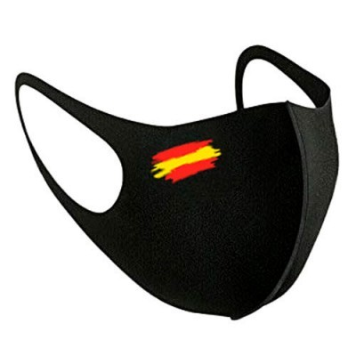 Máscara reutilizável Negra Bandeira Espanha L