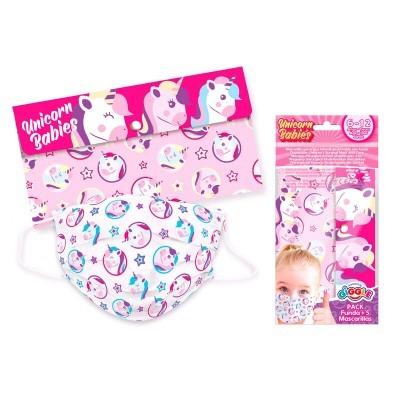 Set 5 Máscaras infantis cirúrgicas descartáveis + estojo Unicórnio
