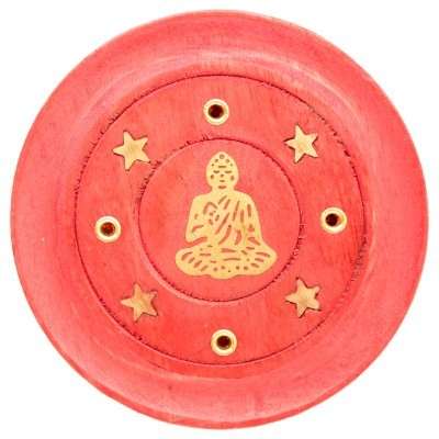 Queimador de Incenso redondo em madeira MANGO - Buda