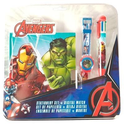 Conjunto Relógio digital + Caneta 6 cores + Diário Vingadores Avengers Marvel