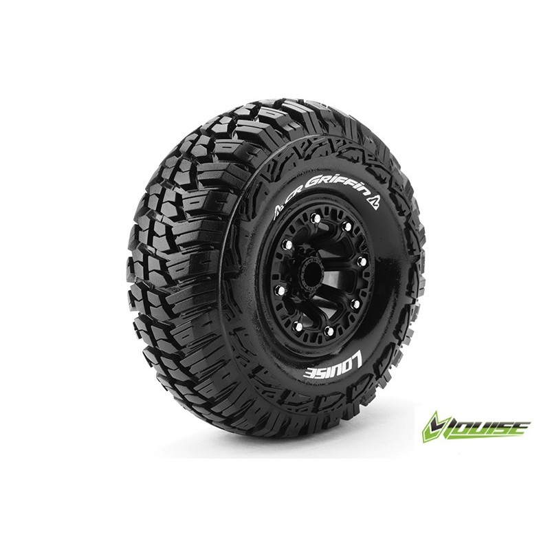 CR-GRIFFIN 1:10 CRAWLER TIRE SET MOUNTED SUPER SOFT BLACK CR