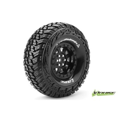 "CR-GRIFFIN 1:10 CRAWLER TIRE SET MOUNTED SUPER SOFT BLACK 1.9"" RIMS HEX 12MM 1 PAIR"