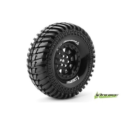 "CR-ARDENT 1:10 CRAWLER TIRE SET MOUNTED SUPER SOFT BLACK 1.9"" RIMS HEX 12MM 1 PAIR"