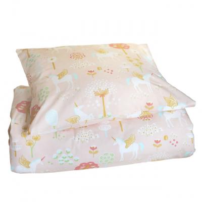 Capa de Edredão + Fronha Almofada - Unicórnio Soft Pink