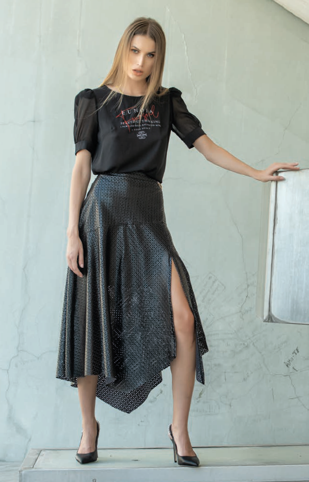 Foursoul Fake Leather Skirt