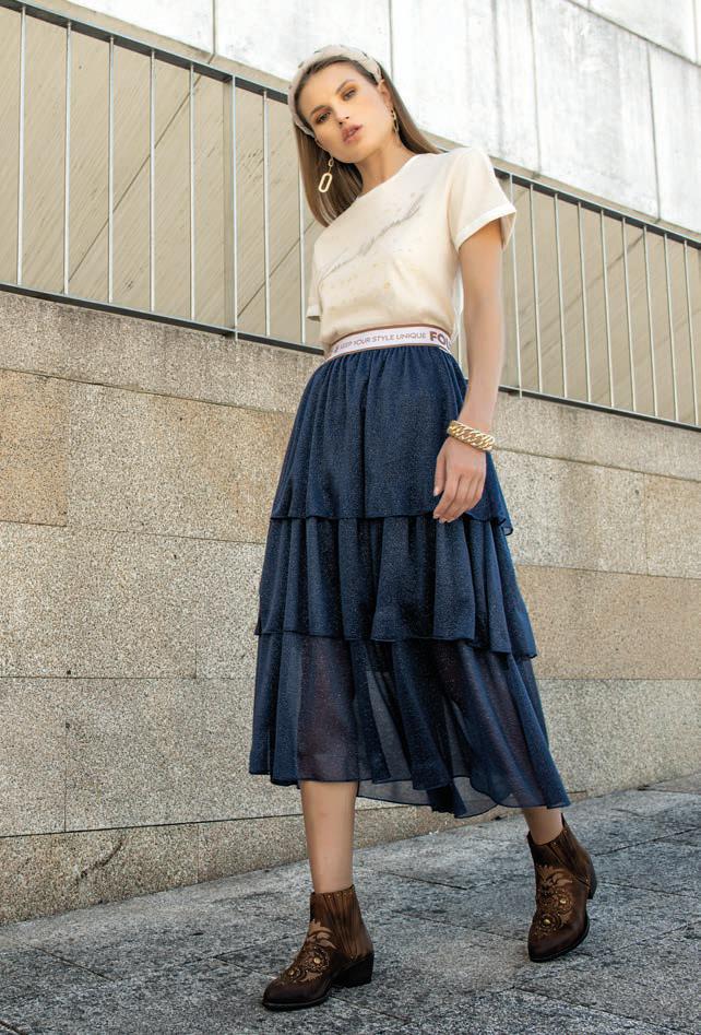 Foursoul Lurex Tulle Skirt Azul