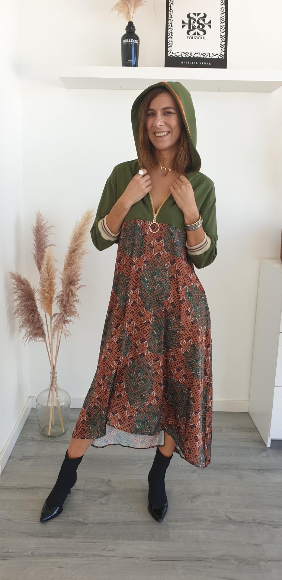 Foursoul  Printed Hoddie Dress
