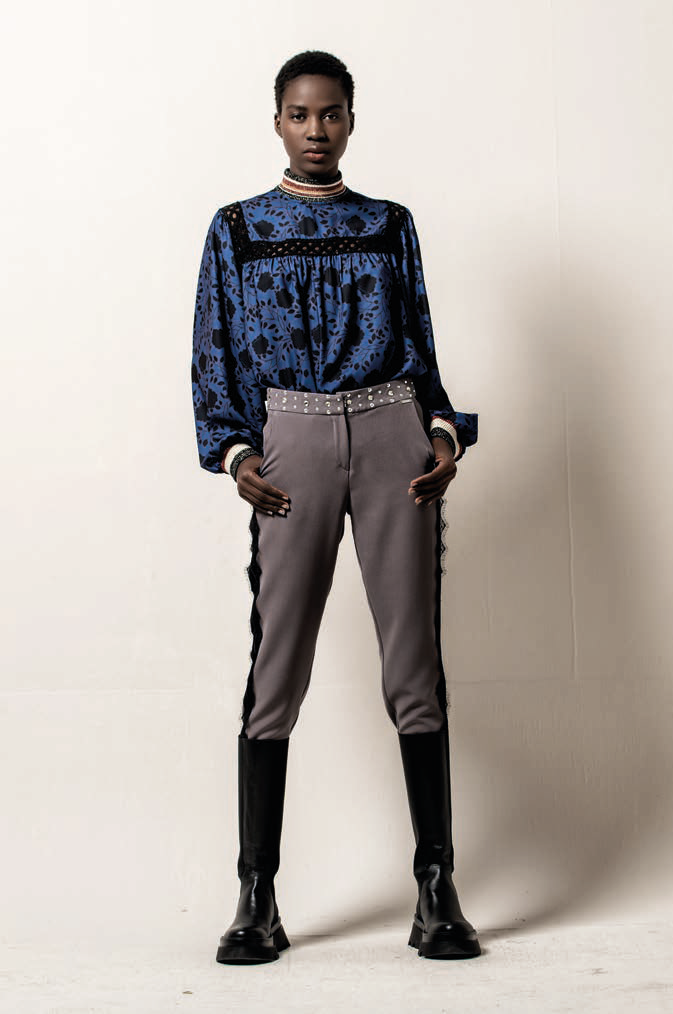 Foursoul Printed High Neck Blouse