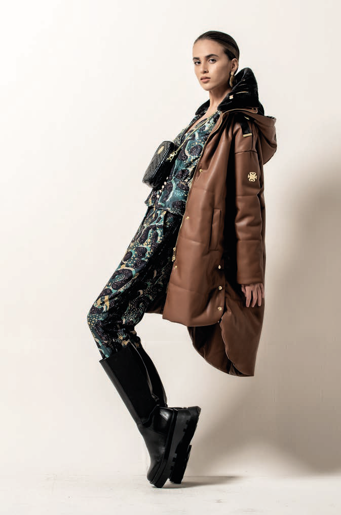 Foursoul Long Fake Leather Puffer Coat