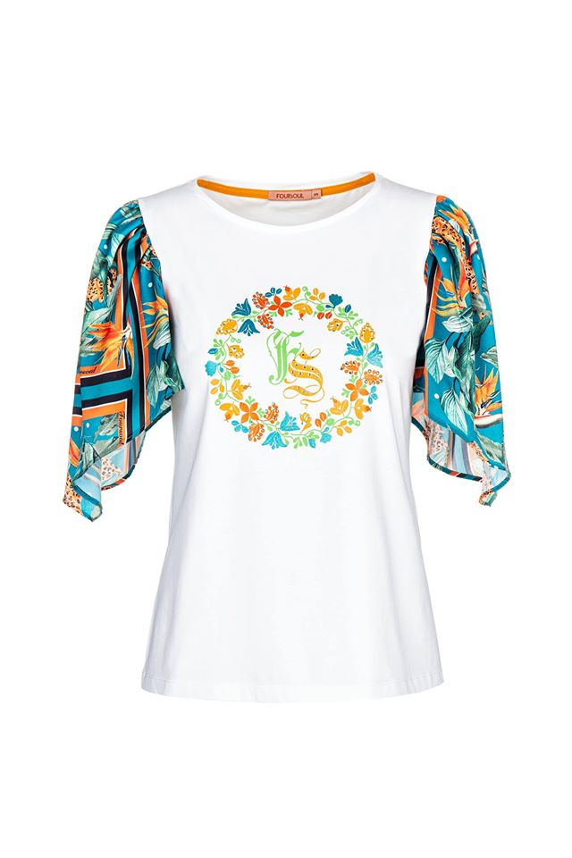 FOURSOUL SCARF SLEEVES T-SHIRT