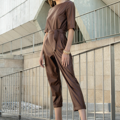 Foursoul Fake Leather Jumpsuit
