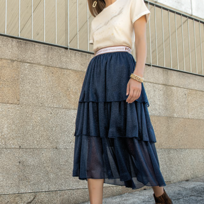 Foursoul Lurex Tulle Skirt Azul