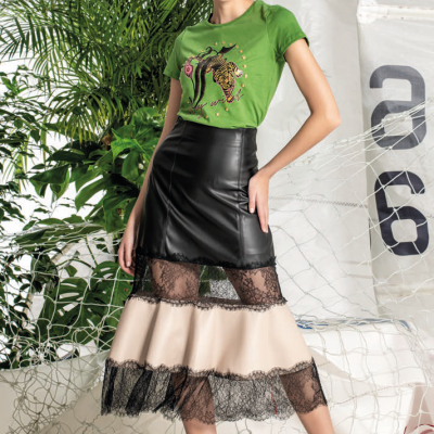 FOURSOUL LEATHER LACE SKIRT
