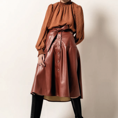 Foursoul Fake Leather Skirt 203409