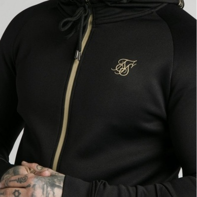 SikSilk Element Zip Through Hoodie Black & Gold