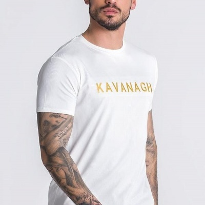 WHITE AND GOLD RIBBED CORE TEE