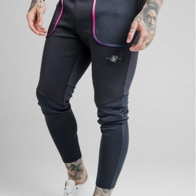SikSilk Legacy Fade Track Pants Midnight Grey & Neon White