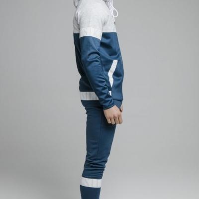 SikSilk Dynamic Function Zip Through Hoodie joggers - Snow Marl & Navy