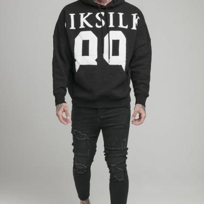 SikSilk Drop Shoulder Relaxed Fit Hoodie - Black & White