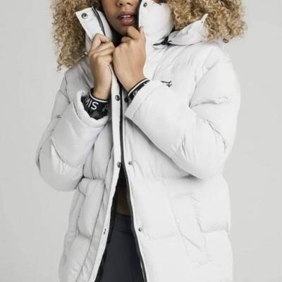 SikSilk Longline Padded Jacket - Light Grey
