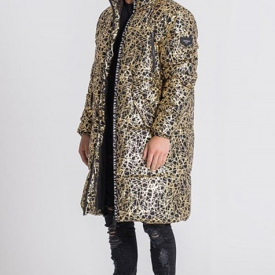 BLACK AND GOLD APOCALYPSE PUFFER COAT