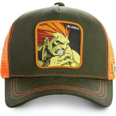 Boné trucker verde e laranja Blanka BLA Street Fighter da Capslab
