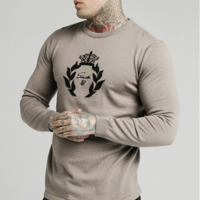SikSilk High Neck Knitted Prestige Sweater – Grey