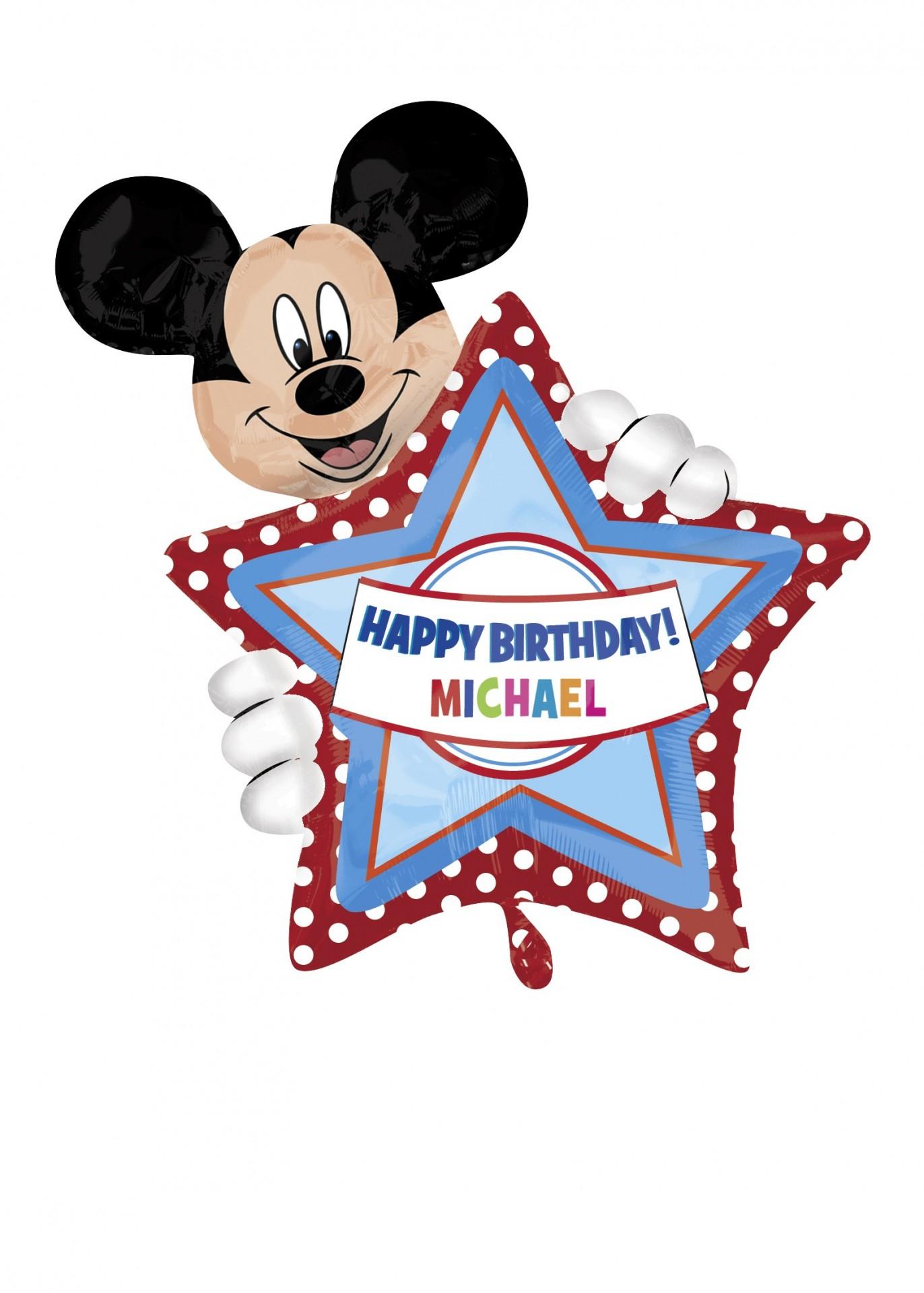 Balão Foil Mickey Happy Birthday Personalizável