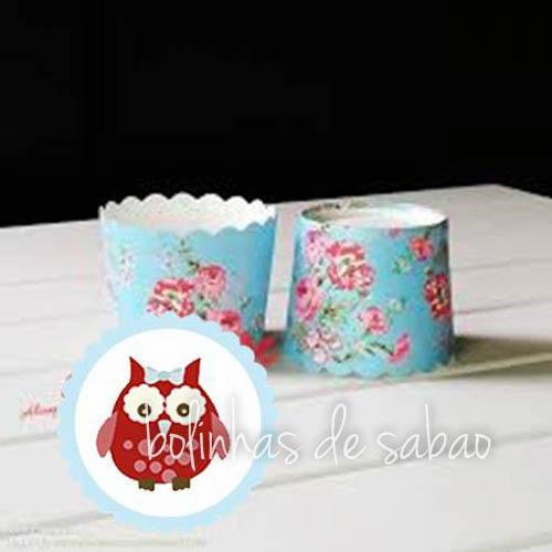 Cupcakes Bonecos - Shabby Blue 5 unidades