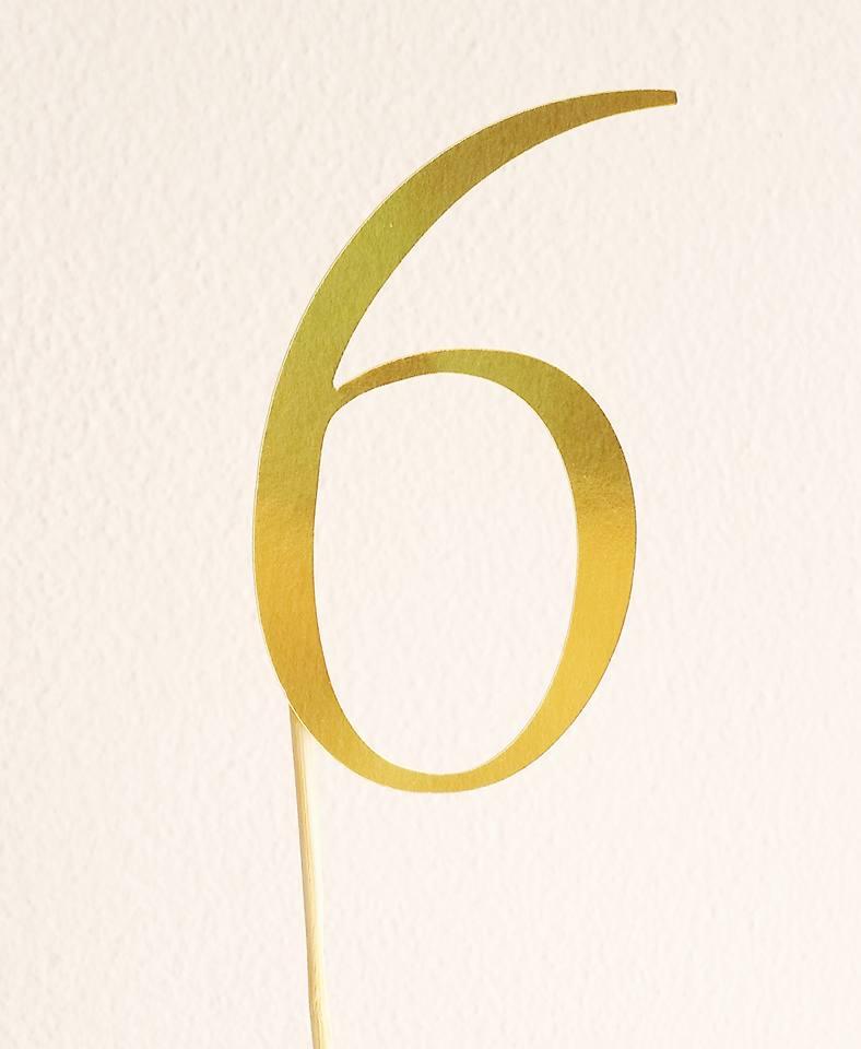 Topo de Bolo Nº 6 Dourado