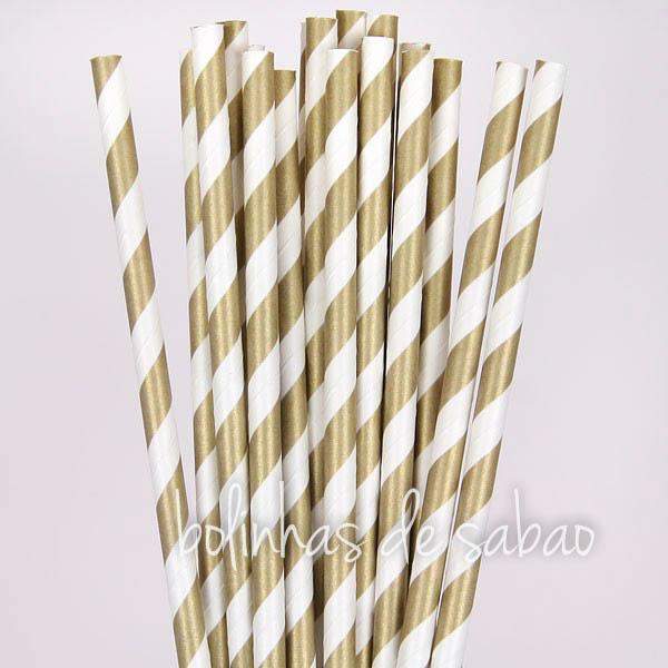 Palhas 25 unidades - Riscas Dourados