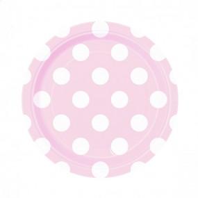 Pratos Bolas 18cm 8 unidades - Rosa Bebé