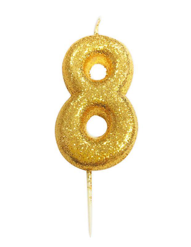 Vela Glitter Ouro nº8