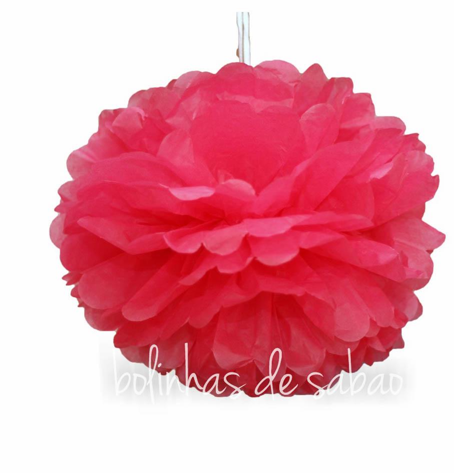 Pompom de Papel 25 cm - Rosa Escuro