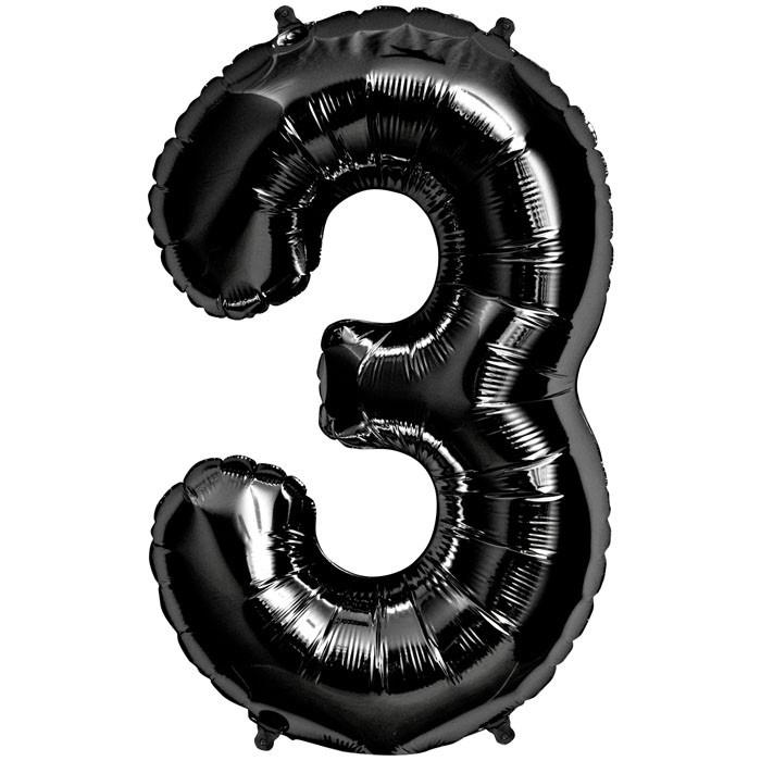 """Balão Foil 34 """"nº 3 Preto"""