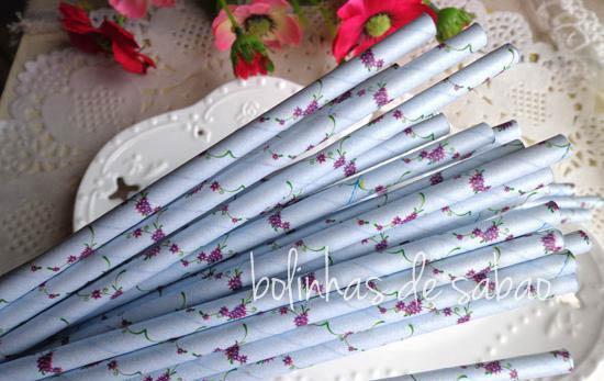 Palhas 25 unidades - Flores Lilás