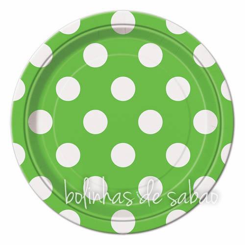 Pratos Bolas 18cm 8 unidades - Verde