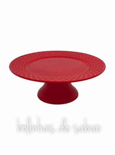 Prato de Pé Corações 31 cm - Vermelho