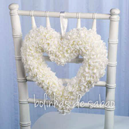 Grinalda Coração Flores Branco