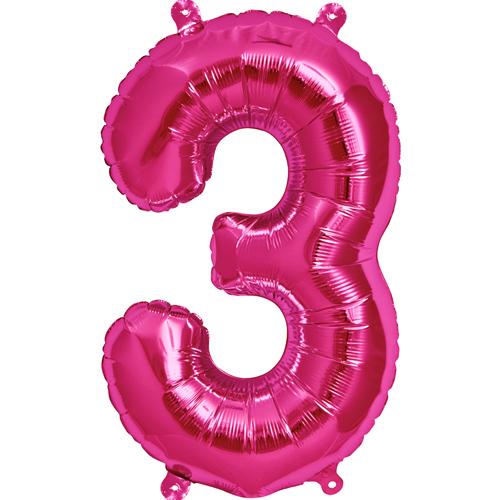 """Balão Foil 34 """"nº 3 Fucsia"""
